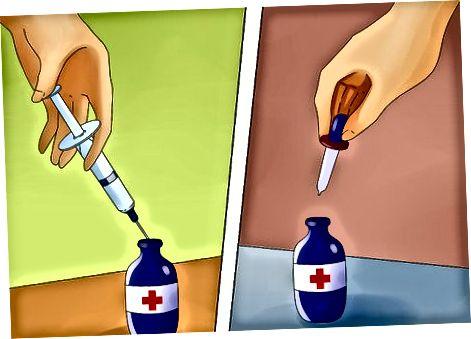 Orális orvosi fecskendő használata