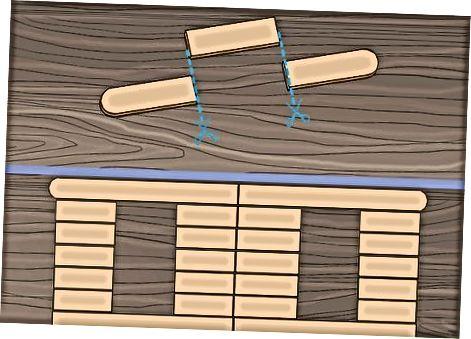Construyendo una casa pequeña con palos artesanales