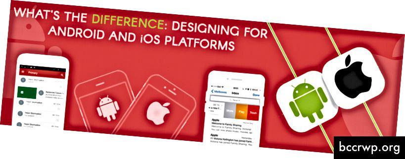 Käyttöliittymän suunnittelu Android- ja iOS-sovelluksille on melko erilainen