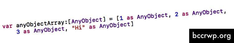 عناصر مسبوكة إلى AnyObject