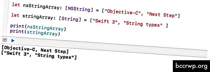 Печат на NSString Array и String Array