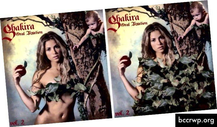 Отляво: оригиналната корица на Shakira's Oral Fixation; Вдясно: Същият капак в Близкия Изток