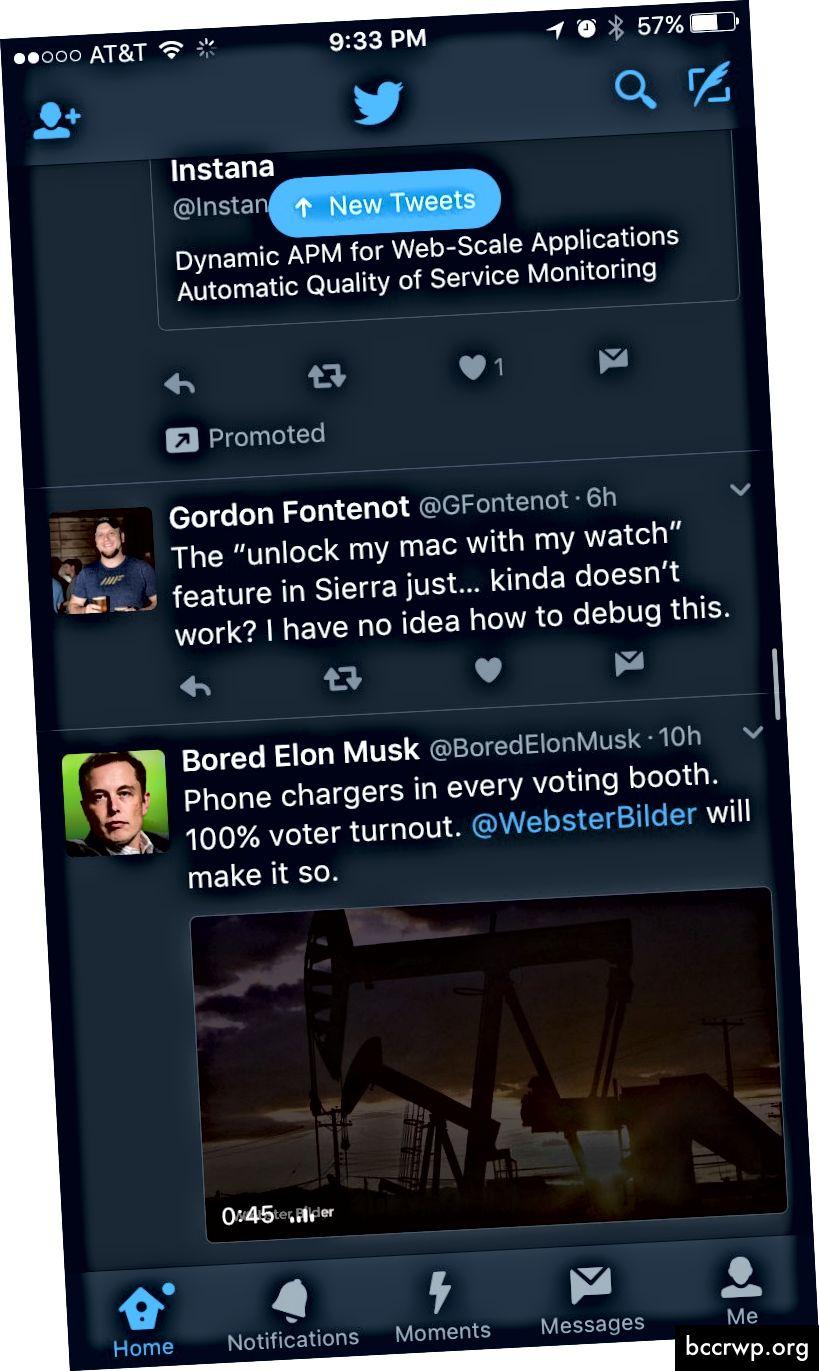 Раздели в приложението за iOS на Twitter