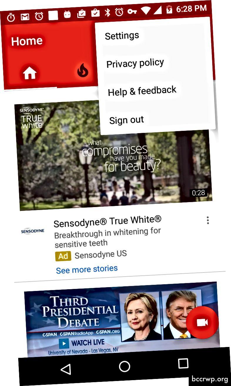 Менюто за препълване в приложението за Android на Youtube
