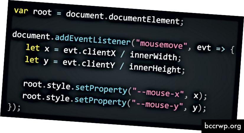 Выдатны прыклад, які паказвае, як чытаць становішча мышы ў JavaScript і захоўваць яго ў карыстацкіх уласцівасцях CSS - (урывак з размовы Леа Веру)