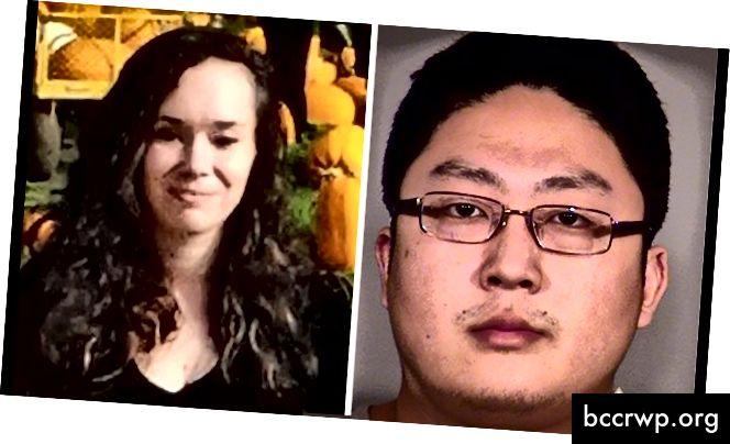 Ešlija Bensone, pa kreisi, un viņas slepkava, kura šobrīd atrodas cietumā