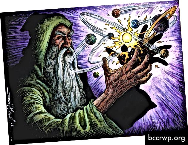 Ir čia mes turime alchemiką, maišantį žvaigždes, planetas ir truputį vudu.