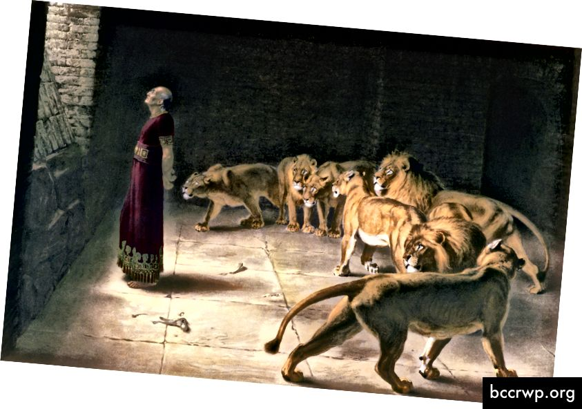 Отговорът на Даниел към краля - Живопис от Британе Ривиер (1890)
