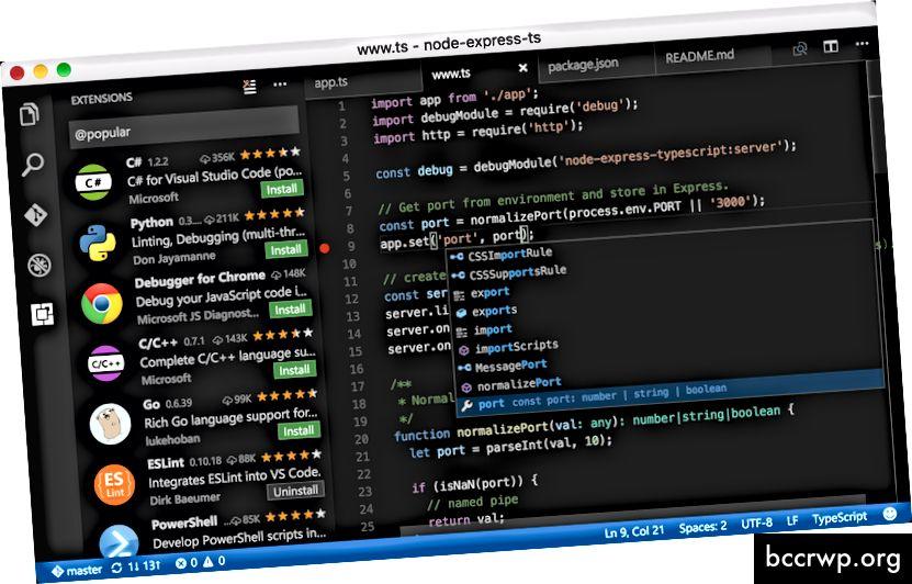 """Visual Studio Code"", FOSS teksto rengyklė, sukurta ""Microsoft"". Vaizdas: https://code.visualstudio.com/"