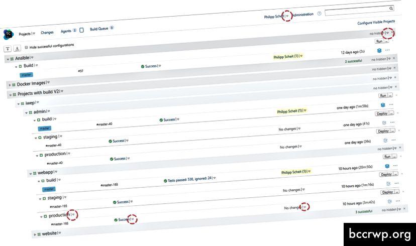 Малките стрелки навсякъде в потребителския интерфейс от teamcity - маркирани с червен кръг