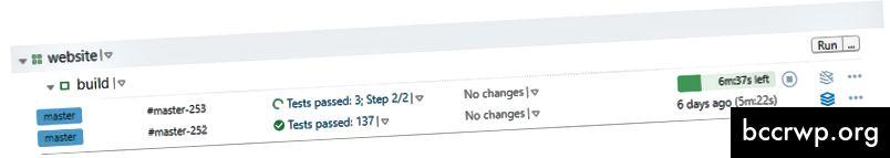 Прогресът на тестовете се показва на живо, докато се изгражда