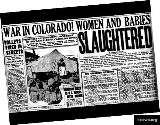 Liudvudo žudynės, kuriose Rokfeleris surengė Nacionalinę gvardiją, atidengė ugnį smogiantiems anglių kasėjams ir jų šeimoms. Žuvo vyrai, moterys, vaikai ir net kūdikiai, dar daugiau buvo sužeista