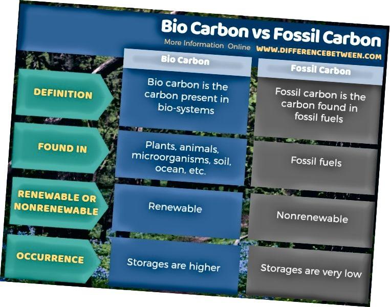 Skirtumas tarp anglies ir iškastinio anglies - lentelės forma