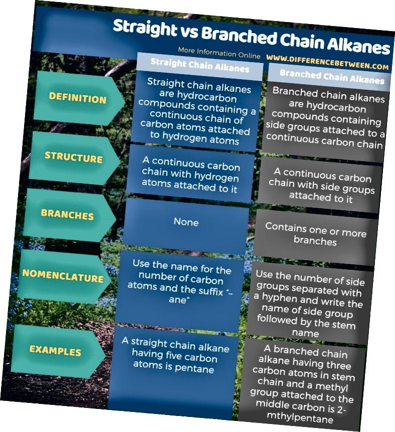Разлика между алкани с права и разклонена верига в таблична форма