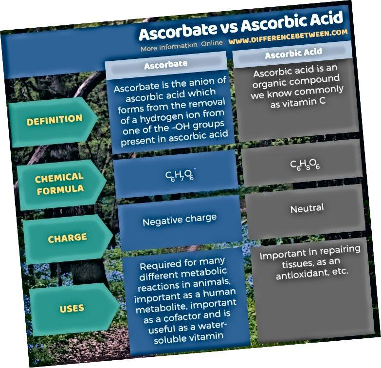 Разлика между аскорбат и аскорбинова киселина в таблична форма