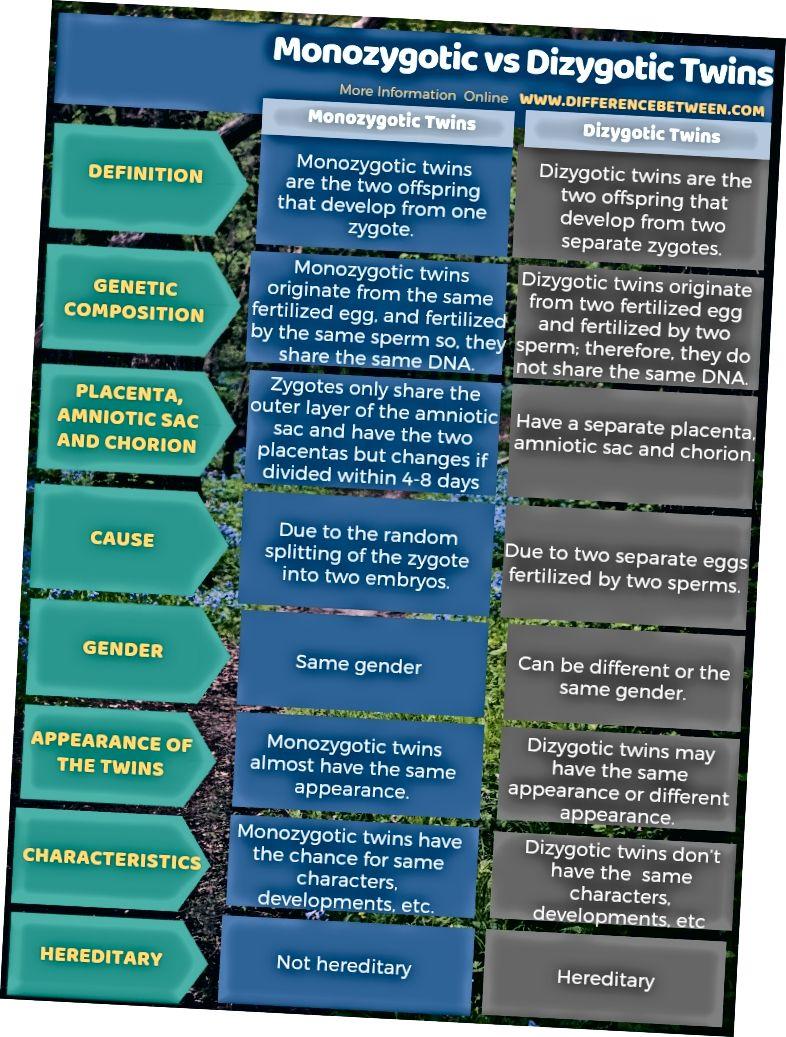 Diferència entre bessons monozigòtics i dizigòtics en forma tabular