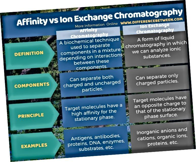 Разлика между хроматографията на афинитет и йонообмен в таблична форма