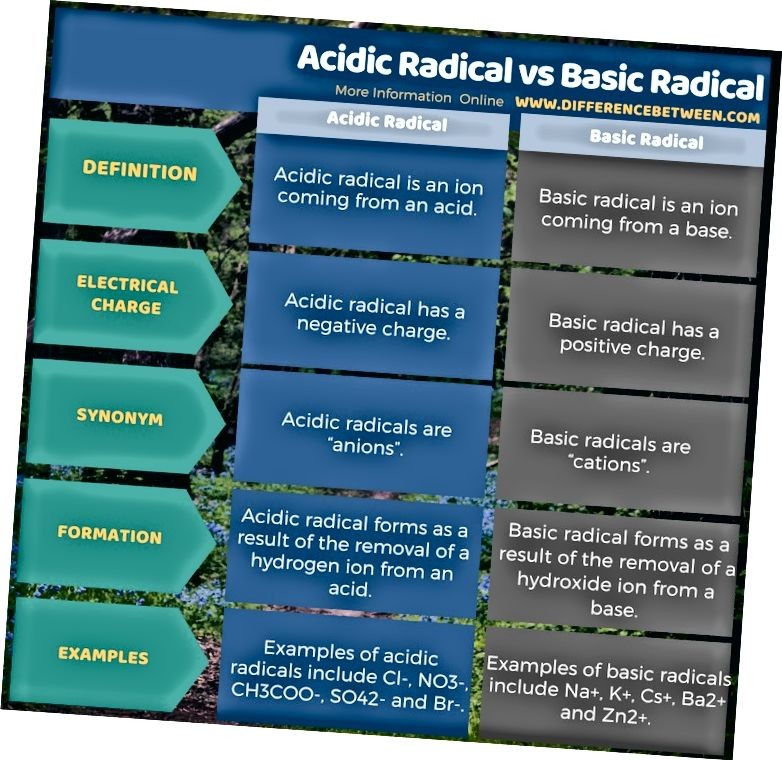 Diferència entre radicals àcids i radicals bàsics en forma tabular