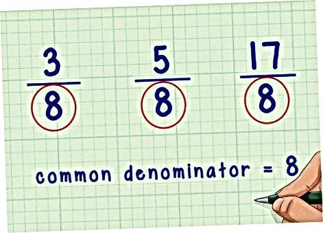 Umumiy denominatorlar bilan kasrlar qo'shish