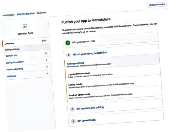Innlevering av GitHub Marketplace