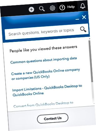 QuickBooks联机帮助菜单