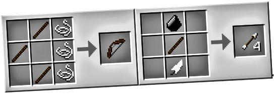 рецепта за майсторство на лук и стрела на Minecraft