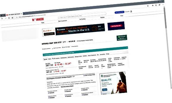 Página de informações do ETF Morningstar