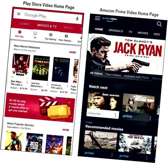 Google Play Store e Amazon Prime Video