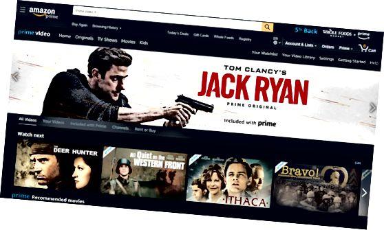 Página inicial do Amazon Prime Video
