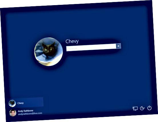 Windows позволява на потребителите да влизат под собствените си акаунти.