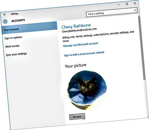Windows lar hver bruker velge et kontobilde.