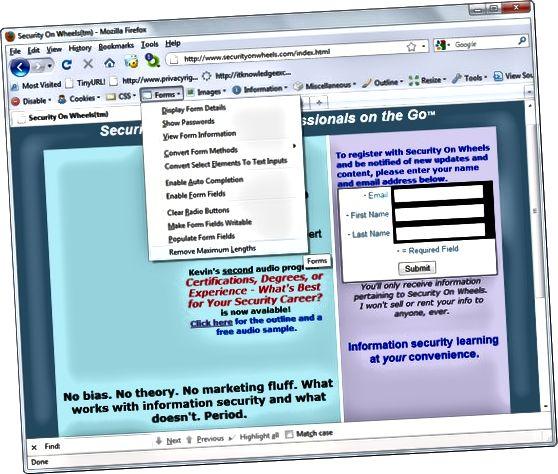 Firefox Web Developer hacking