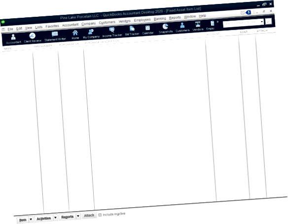 Прозорец за списък с фиксирани активи