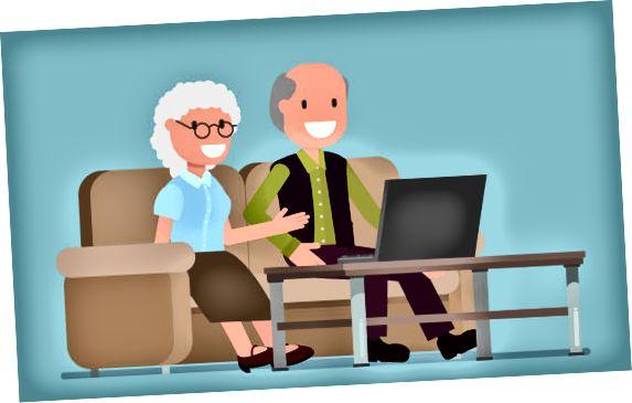 Ældre ved hjælp af en computerillustration