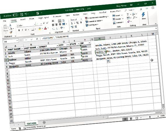 Използване на TEXTJOIN за комбиниране на текстови записи в таблица на Excel.