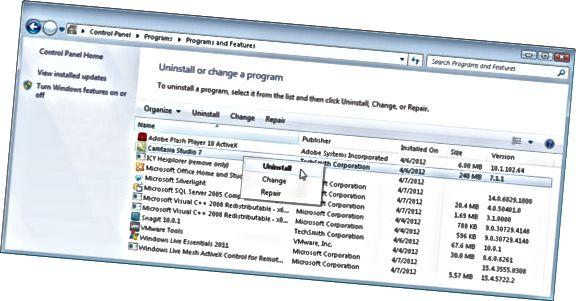 afinstallere indstillinger i Windows