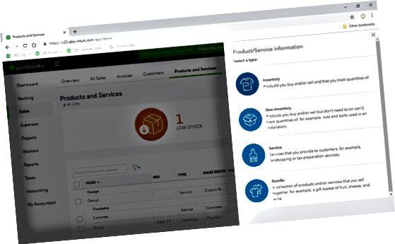 QuickBooks Online oprette vare