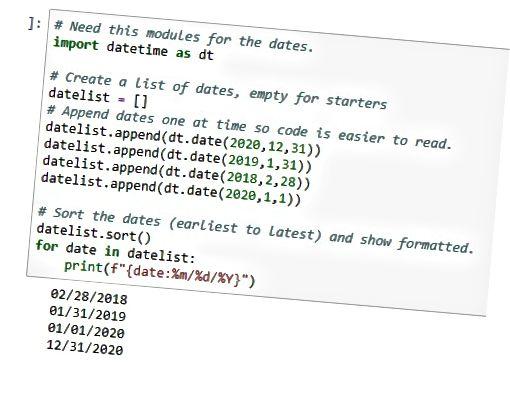 vis datoer i Python