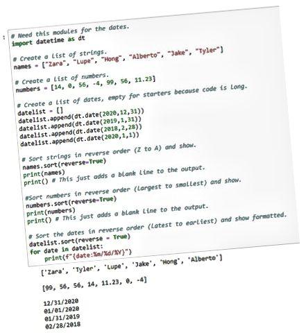 sortere info i Python-listen i omvendt retning