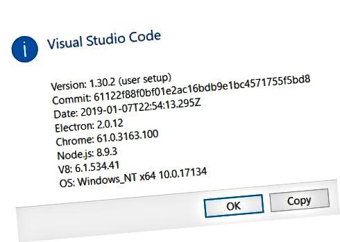 VS Code About диалогов прозорец