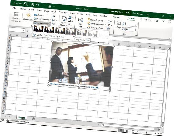 प्रीसेट स्लाइडर का उपयोग करके छवि की पारदर्शिता को संशोधित करना।