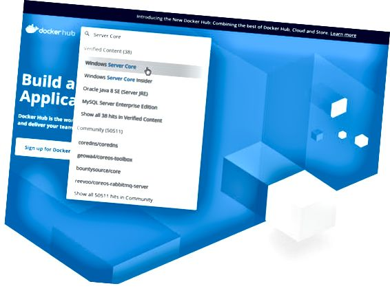 Поле за търсене на Docker Hub