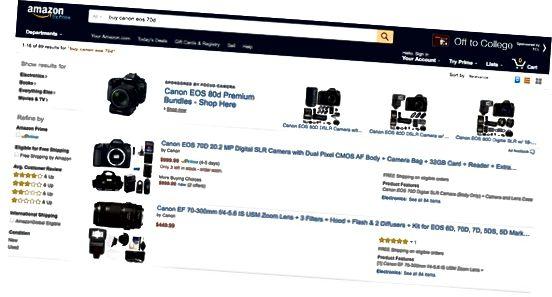 Amazon Canon-søgeresultater