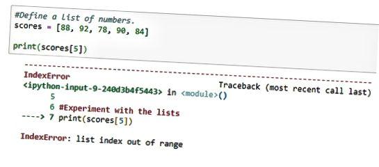 Python indeksområde