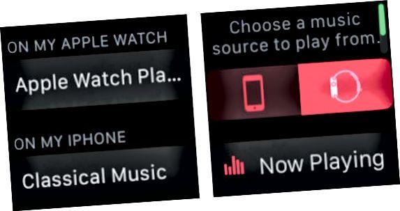 изберете Apple Watch като ваш музикален източник
