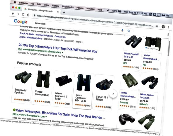 Google खरीदारी खोज परिणाम।