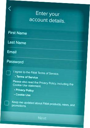 Fitbit Account Details-skjermbildet