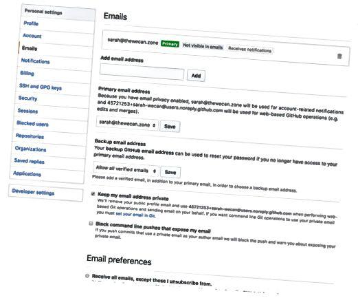 GitHub e-mail-indstillinger