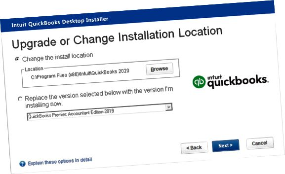 升级或更改安装位置窗口