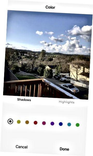 Instagram redigeringsfarge